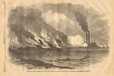 Civil War, Union Gun Boat Essex Destroys Rebel Iron Clad Arkansas, Vintage 1862