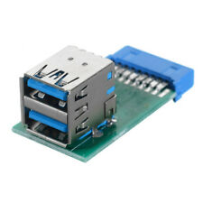 USA Vertical Dual USB 3.0 A Type Female to Motherboard 20Pin Header Slot Adapter