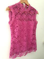 NEW! NANETTE Nanette Lepore Pretty Pink Lace Mock Neck Elegant Tank Top XS $98