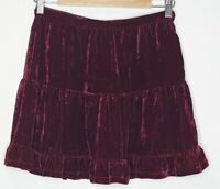 Tigerlily Ajanta Boho Crimson Velvet Short Skirt Size 8