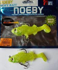 Noeby pêche leurre souple plombé odorant 9,5cm 20g X2 Jaune pailleté argent