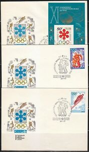 Soviet Russia 1972 set of 6 FDC covers Winter Olympics Sapporo Japan