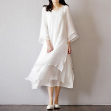 Womens Fashion 3/4 Sleeve Double Round Neck Chinese Style Silk Long Dress