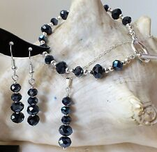 Black Crystal Jewellery Set ~ Sterling Silver 925 Chain & Ear Hooks ~Necklace 18