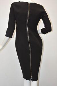 Neuf Victoria Beckham Collection Ajusté Motif Crêpe Noir Robe 10 UK 14