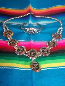 Silver Western Cowgirl Horse Navajo Pearl Squash Blossom Necklace & Bracelet SET