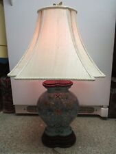 Vintage porcelain Table Lamp & Shade light blue Chinese Flowers carved Wood base