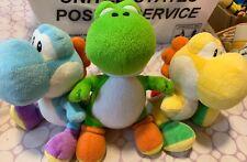 "Yellow Green Blue Yoshi Stuffed Plush Doll 6"" Super Mario Bros Genuine"