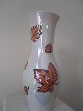 Large Vintage Arthur Wood 1960s Lustre Vase - Autumn Leaves Design 33CM TALL