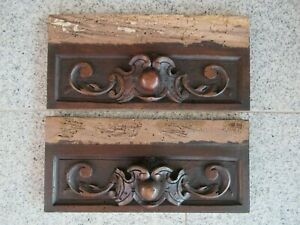 2x antique front panel solid walnut, carved around 1880.