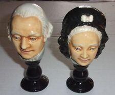 Unusual George & Martha Wahington Busts on Pedestals