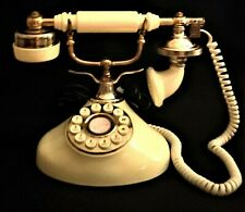 Vintage French Victorian Princess Style Telephone Cream/Ivory/Brass Push-Button