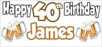 Beer 40th Birthday Banner x 2 Party Decorations Mens Husband Dad Grandad Son