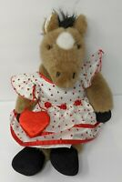 Build a Bear Retired Brown Horse 18 Inch Dress Hearts Valentine's Purse