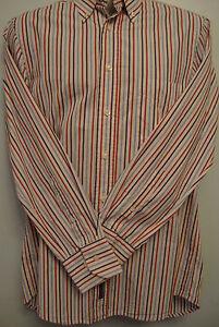 Gant men's cotton poplin striped long Sleeved shirt Size med