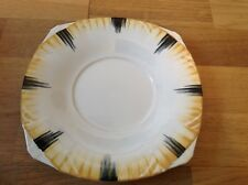Alfred Meakin Stunning Art Deco Cake Plate Cream with Back & Yellow Stripes.