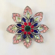New Flower Blue Pink Party Gift Round Crystals Pendant Charm Brooch Pin BR1287