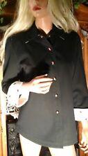 ST JOHN Sport Marie Gray Black Denim Coat Jacket  Red Ladybug Snap front Small