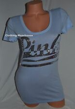 NEW Victoria's Secret PINK Fitted Scoop Neck Sequin Bling Logo Tee Top Shirt S