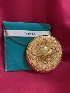 Towle Sterling Silver Hand Held Round Pocket Cosmetic Mirror Gold Tone