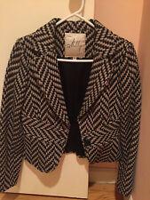Milly size 4 NWOT wool herringbone short jacket with waist
