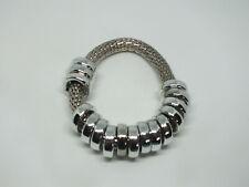 "Beautiful Stretch Bracelet Silver Tone Mesh Lots Rings Slide 5/8"" Wide NICE"
