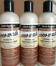 Lot Of 3 Aunt Jackie's Coco Wash Coconut Milk Conditioning Cleanser 12 oz Each