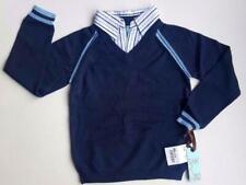 New w. Tag Light Blue Navy Blue Collar Knit Uniform Sweater School Boys Size 5