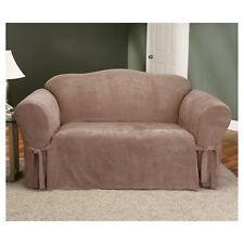 Soft Suede Loveseat Slipcover - Sure Fit Sable