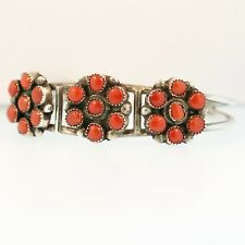 Clusters of Coral & Sterling Silver Cuff Bracelet Native American New Mexico