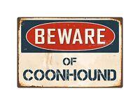 "Beware Of Coonhound 8"" x 12"" Vintage Aluminum Retro Metal Sign VS119"