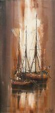 Kevin Platt - Original Oil Painting - Sailing Boats at Anchor at Sunset.