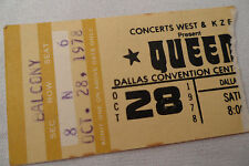 Queen Original_1978_Concert Ticket Stub_Jazz Tour_Dallas_Ex+