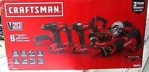 Craftsman CMCK800D2 V20 8-Tool 20-V Power Tool Combo Kit ~NEW~