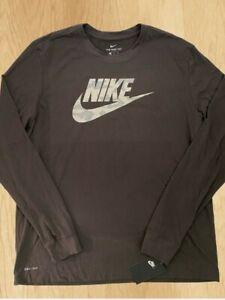Nike Sportswear Camo Swoosh Logo Brown Long Sleeves Men's Sz 2XL Top T shirt