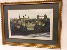 Framed Hand Colored Print Tower of London and Bridge Signed William Horn