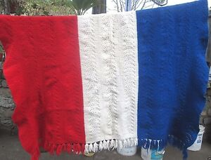 ❤ PATRIOTIC CROCHET BLANKET THROW RED WHITE BLUE 60 X 60 FREESHIP