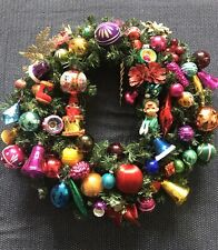 Vintage Christmas wreath retro collectible baubles ornament knee hugger elf