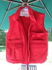 EDDIE BAUER Men's Red Medium Goose Down Vest ~ Multiple Pockets, Zippers