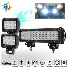 "12inch 72W+ 4"" LED Light Bar Work SPOT FLOOD BEAM CREE 4WD CAR ATV OFFROAD JEEP"