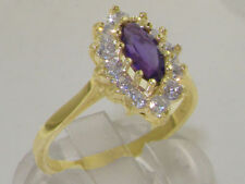 Engagement Cluster Amethyst Yellow Gold Fine Rings