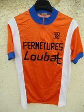 Maillot cycliste FERMETURES LOUBAT orange vintage années 80 shirt jersey maglia