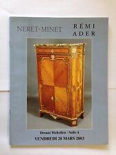 CATALOGUE NERET MINET 2003 REMI ADER ART ILLUSTRE
