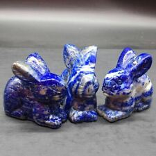 Natural Lapis Lazuli  Quartz Crystal Carved Rabbit Healing Reiki Decorate 1Pc