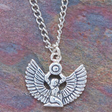 925 sterling silver ISIS WINGED GODDESS Charm Egyptian Egypt Pendant Necklace