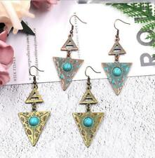 1 Pair Retro Simple Triangle Round Turquoise Pendant Long Pendant Earrings