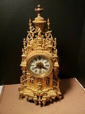 Large Antique Ornate French Cathedral Clock Cast Brass VINCENT & CIE
