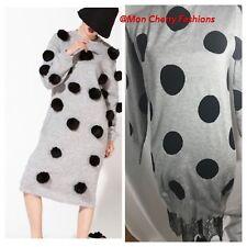 Gray Polka dots vintage Sweater Dress Sz Small R27