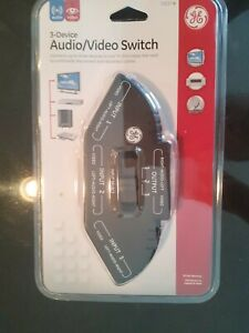 General Electric Black 3 Device Audio Video Switch  #73237 New and Sealed