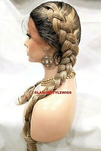 HUMAN HAIR BLEND LACE FRONT FULL WIG LONG BRAIDED OMBRE OFF BLACK ASH BLONDE